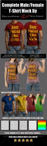GraphicRiver - Complete Male & Female T-Shirt Mock Up with Model