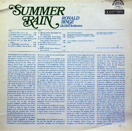Ronald Binge & His Orchestra - Summer Rain (1973), Vinyl-rip